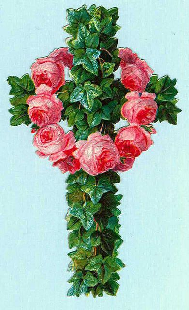 Vintage Roses and Vines Cross
