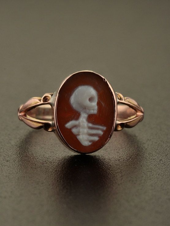 Victorian memento mori skull and bones