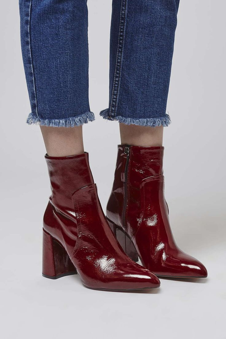 Stomp into new season in style in our HAMPTONS patent flared ankle boots in a rich red hue. #Topshop
