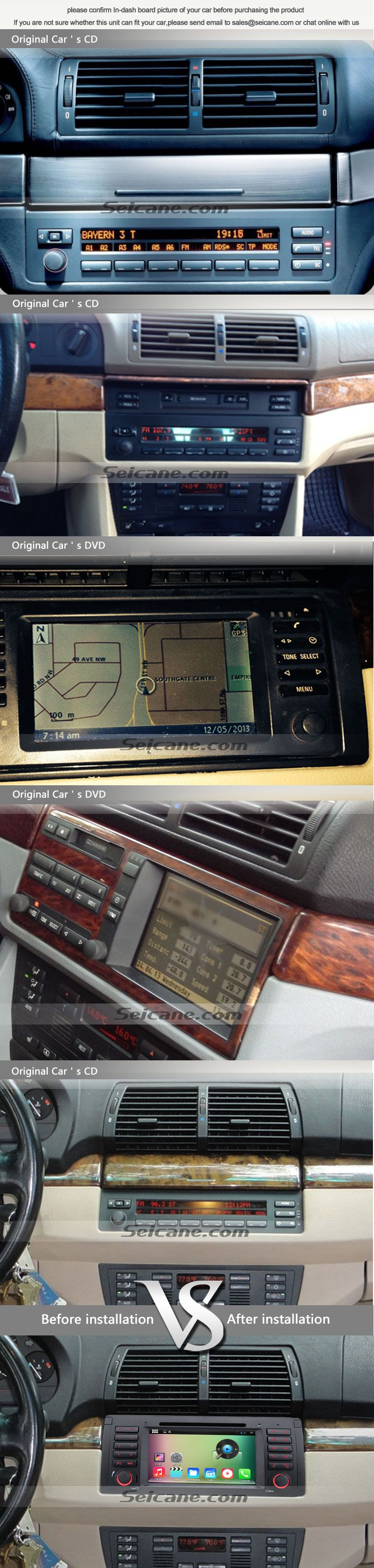 OEM 1996-2003 BMW 5 E39 520i 523i 525i 528i 528i SE 530i 535i 540i M5 aftermarket car stereo navigation system before and after installation