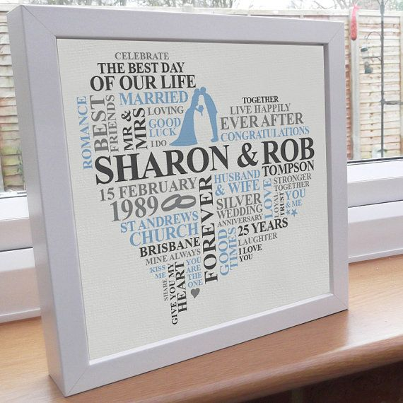 Personalised Silver Anniversary Word Art Print Unique Typography Design Gift 25th Year On
