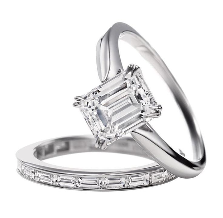 Harry WinstonThis is a cute band Em! Harry Winston Emerald-Cut Diamond  Solitaire Engagement Ring ...