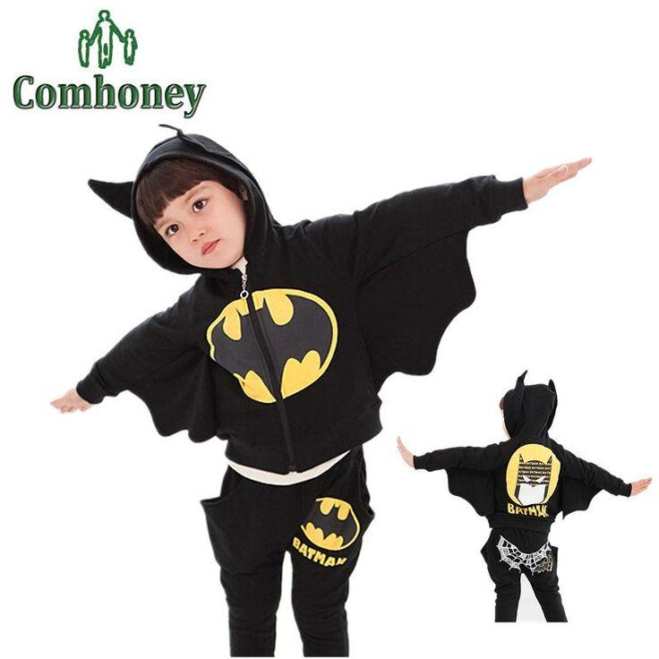Toddler girls Clothing Set Batman Suit Boys Hooeded Jacket+Pants Suit Set Children Sport Suits Boys Clothes