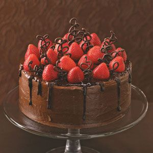 Chocolate-Strawberry Celebration Cake - read the comments after the recipe to see how to make the chocolate swirls that are on top of the cake.