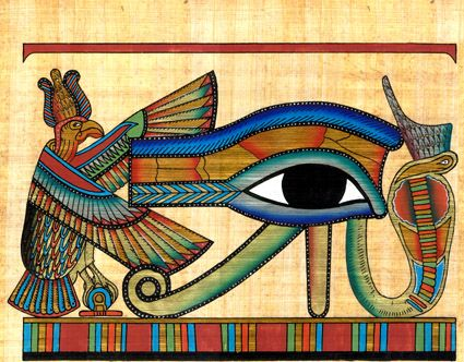 This drawing shows the human eye and the eyebrow which is called the Udjat eye.  This symbol is also sometimes referred to as the Eye of Ra. This shows the importance of religion to the Egyptians.  This Eye of Ra symbolizes protection and was supposed to help ward off illness.