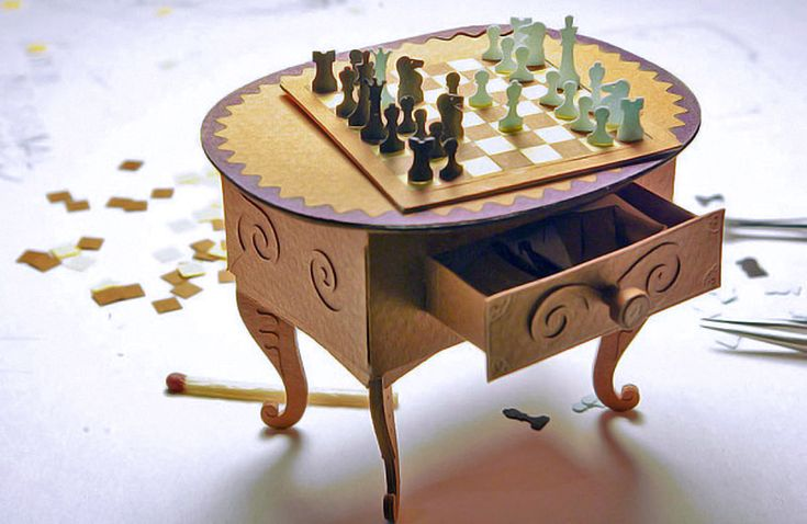 paper miniature chess table
