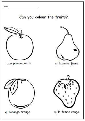 french colouring page learn french colours with fruits printable activity worksheet for school. Black Bedroom Furniture Sets. Home Design Ideas