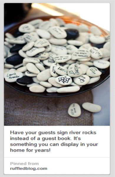 Yes, because god knows I've been DYING to display a bunch of rocks inscribed with the incoherent ramblings of my drunken friends. GREAT WEDDING MEMORIES, Y'ALL. Don't try to be clever if you aren't.
