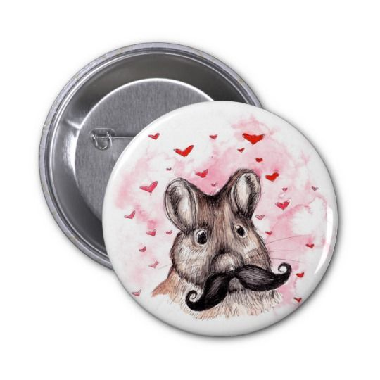 Mouse In Love 6 Cm Round Badge