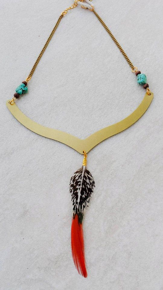 Ethnic Feather Turquoise Brass Collar Necklace by Lycidasjewelry on Etsy