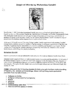 India's Revolution: British Imperialism: Gandhi Era- Interpret Quotes from…