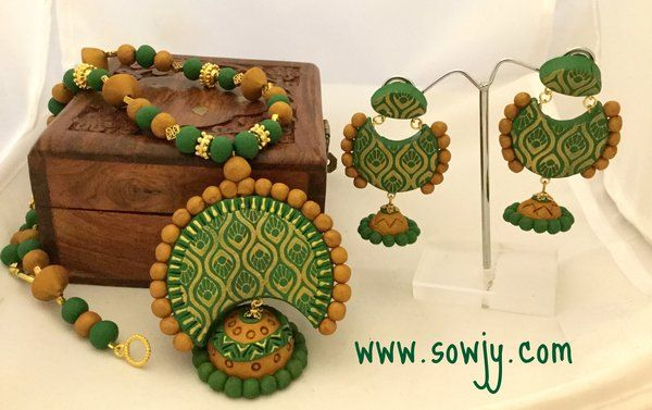 Green and Gold Bali Style neck Set with Bali Earrings!!!!!!! | Sowjy - The Online Jewelry Store