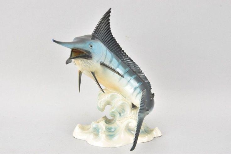 v6e05- Goebel Porzellan Figur Schwertfisch Blauer Marlin