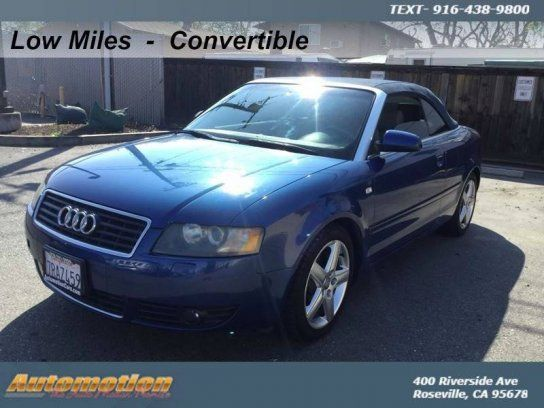 Convertible, 2004 Audi A4 1.8T Cabriolet with 2 Door in Roseville, CA (95678)