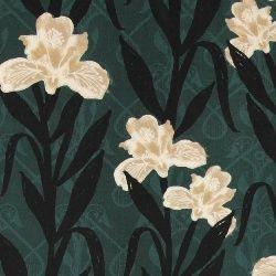Vevet viskose mørk grønn med blomster
