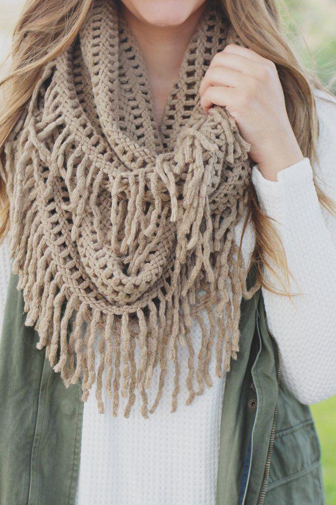 Lattice Knit Tassel Infinity Scarf