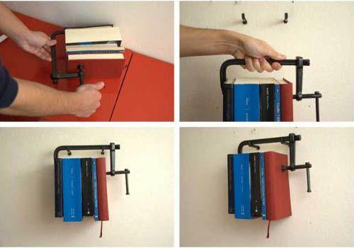 Clamp as a bookshelf