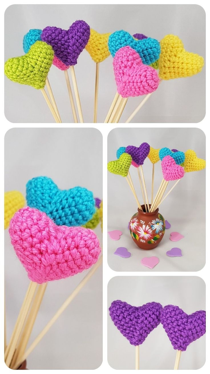 Wedding party sticks Wedding favors hearts favors crochet hearts decor table centerpiece wedding vase décor centerpiece wedding cake topper