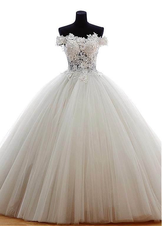 Buy discount Marvelous Tulle Off-the-Shoulder Neckline Ball Gown Wedding Dress with Venice lace at Dressilyme.com