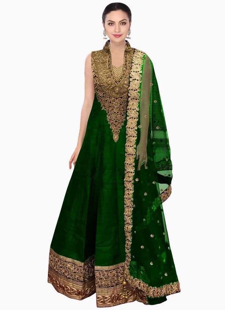 Elegant Raw Silk Patch Border Work Floor Length Anarkali Salwar Suit