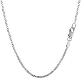 JewelryAffairs 14k White Gold Gourmette Chain Necklace, 1.5mm, 18 Inch.