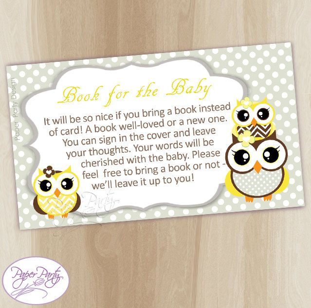 Owl Bring a Book Insert Baby Shower invitation Book Instead Yellow Owl Instant Download Baby Shower Bring a Book Card by PaperPartyDesignUS on Etsy