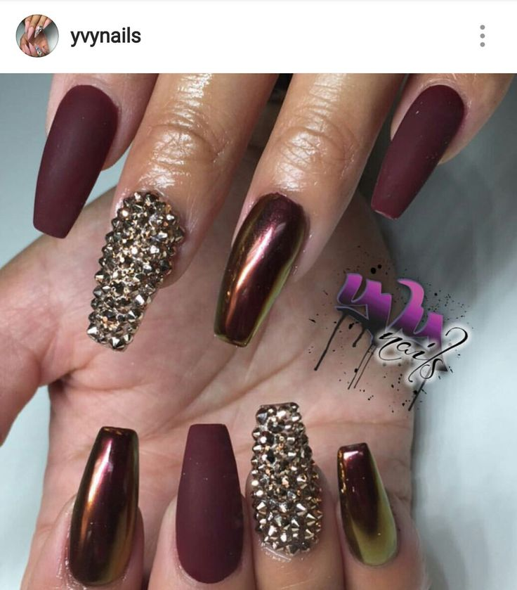 26 best beauty images on pinterest nail scissors autumn nails burgundy nails chrome and matte with gold rhinestones prinsesfo Choice Image