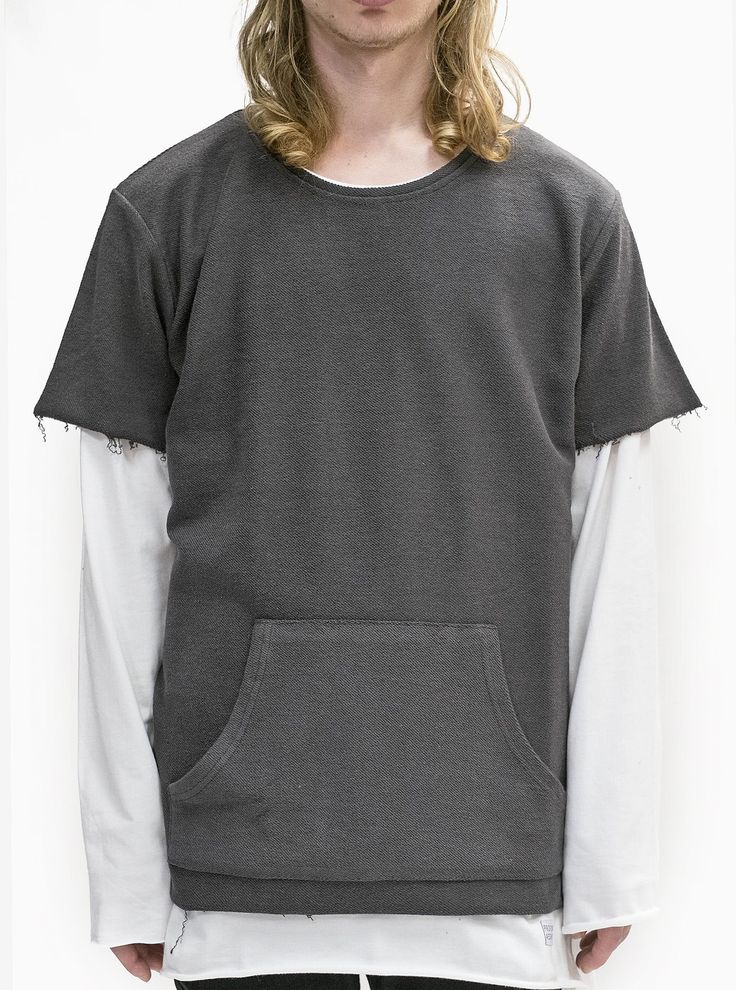 Profound Aesthetic Reversed French Terry Pullover Raw-Cut Sweatshirt in Gunmetal http://profoundco.com