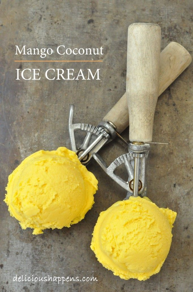 from The Harvest Kitchen THIS MANGO COCONUT ICE CREAM HAS AN INCREDIBLE FLAVOR.  AND IT'S EASY TO MAKE!