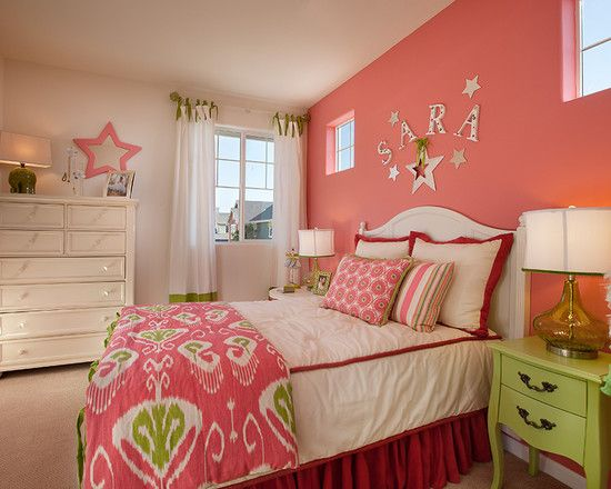 teenage girl 39 s bedroom contemporary bedroom hot pink accent wall