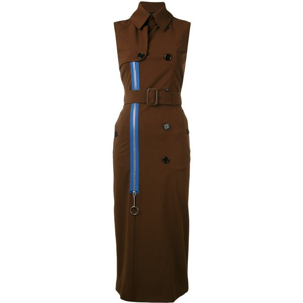 Givenchy long trench waist-coat (225.015 RUB) ❤ liked on Polyvore featuring outerwear, coats, brown, sleeveless trenchcoat, sleeveless coat, double-breasted trench coats, givenchy coat and brown double breasted coat