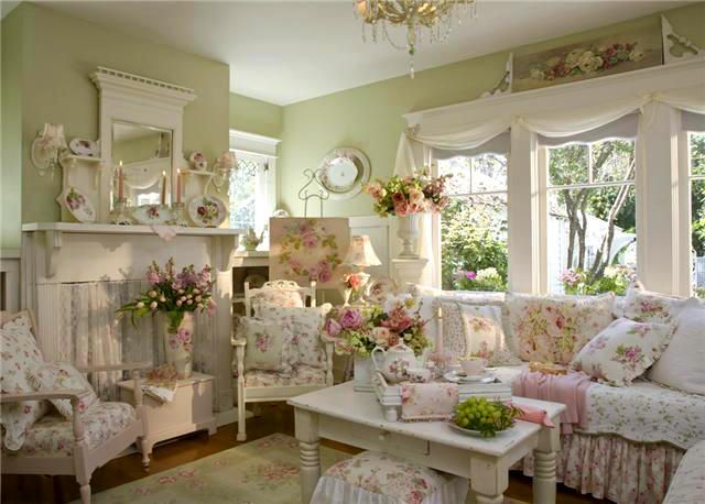 Shabby Chic, english cottage living room...pretty green wall color