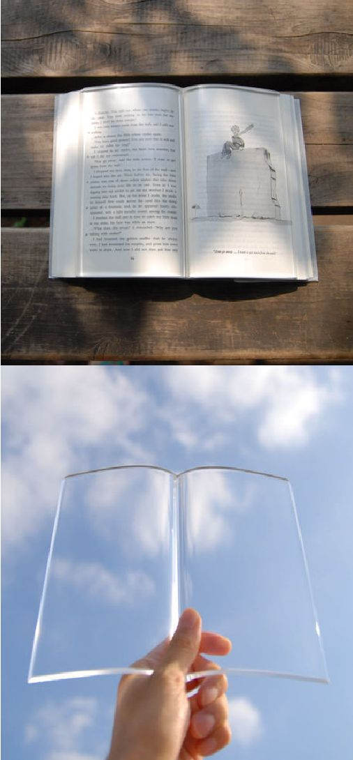 A transparent acrylic paperweight to hold down the pages of a book.