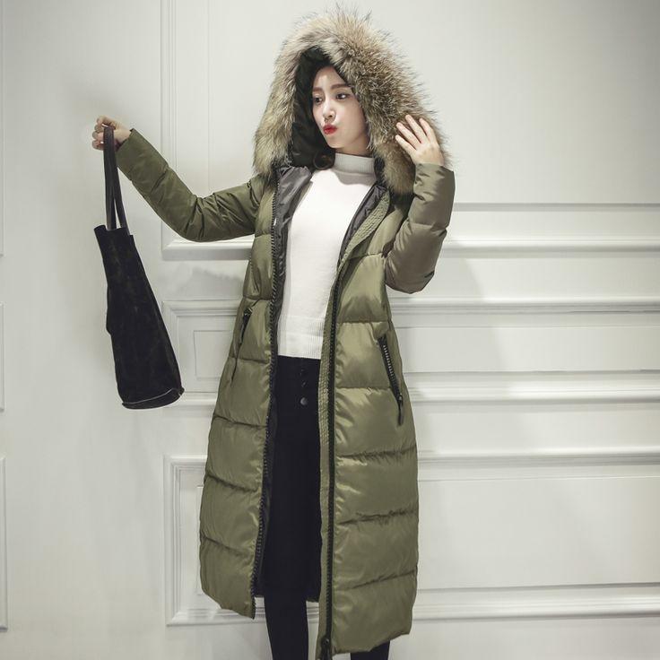 Сезон Зима 2016 утка Abrigos de plumas куртка женщин длинное пальто Parkas утолщение Женский теплая одежда женские Casacos de Couro зима зимняя куртка