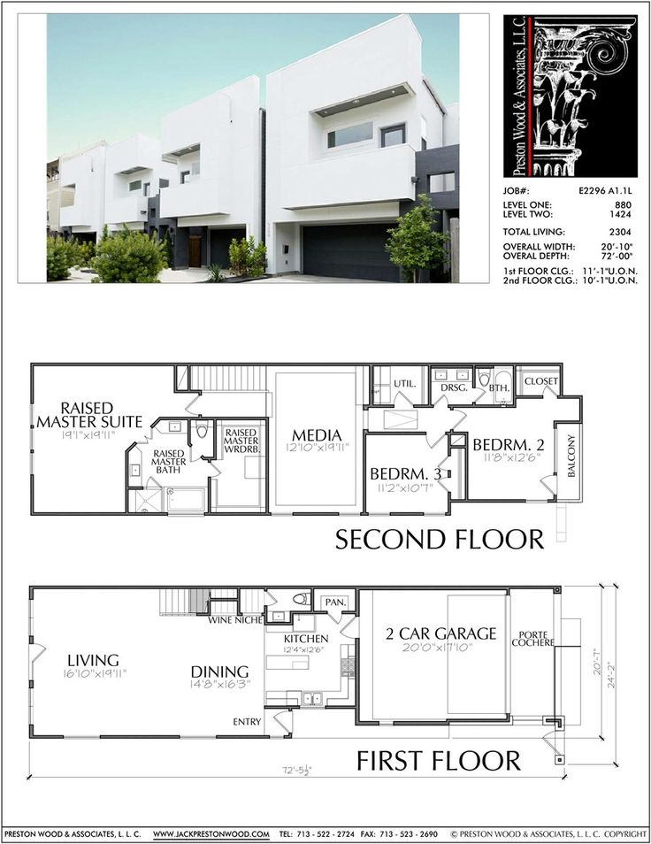 Two Story Townhouse Plan E2296 A1.1 in 2020 (With images