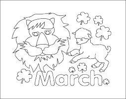 all the symbols of the month of march coloring page lion lamb shamrocks