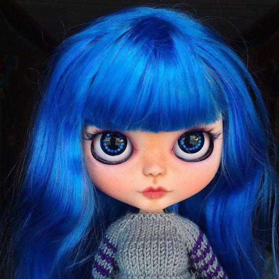 Custom ooak Blythe doll tbl base blue hair by BlythemagicShop