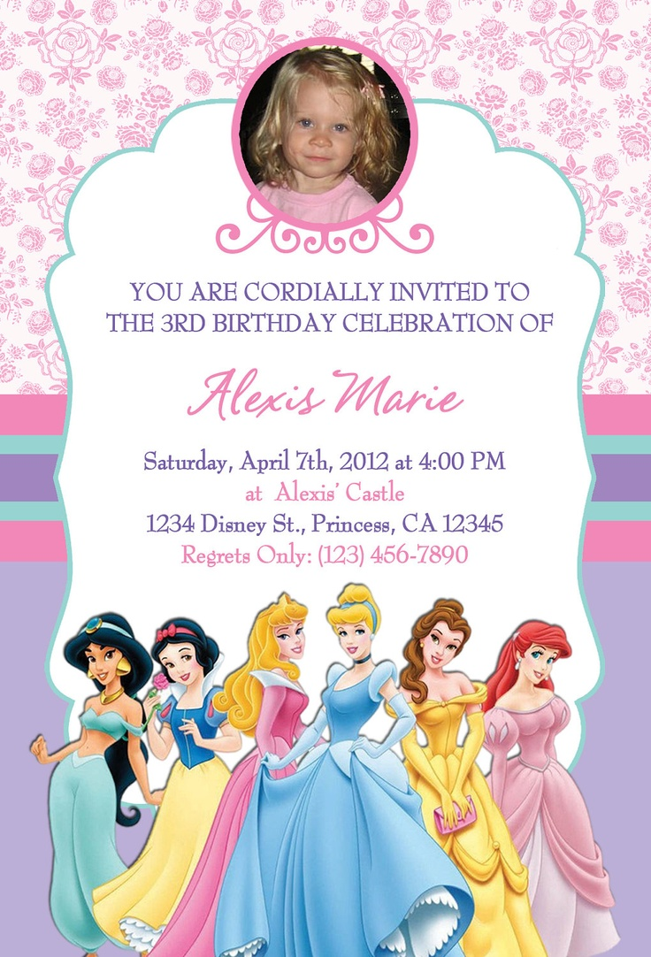 17 best images about disney princess invitations on pinterest