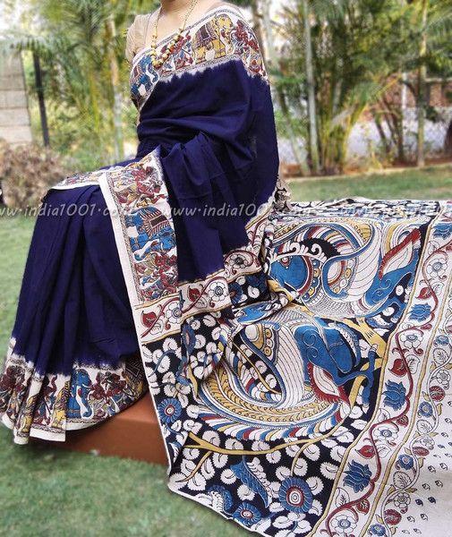 Elegant Cotton Saree with Kalamkari Block Printing