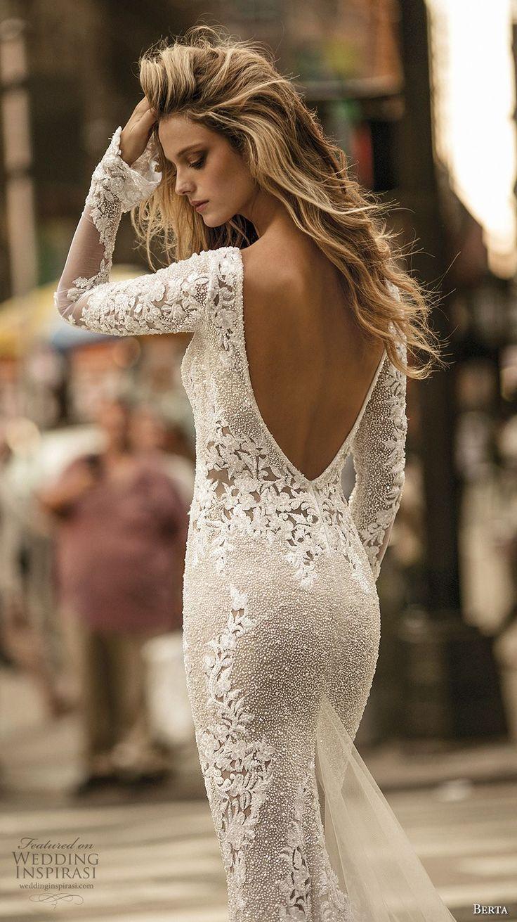 berta fall 2017 bridal long sleeves deep v neck full embellishment elegant lace sheath wedding dress low back chapel train (012a) zbv