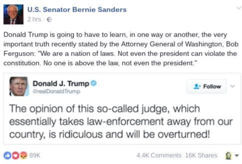 Trump begrijpt scheiding der machten niet  Of doet alsof. De president moet doen wat de rechterlijke macht en de wetgevende macht zegt. De president is de uitvoerende macht. Hij kan wel wat en het Congres heeft nu een Republikeinse meerderheid. Maar rechterlijke uitspraken moet hij respecteren. Anders is de wet niets waard.   Kent u nog zo iemand die rechters intimideert en doet alsof ze niet belangrijk zijn? Daarmee de rechtsstaat ondermijnend? Weet u bij welke politieke stroming dat hoort?