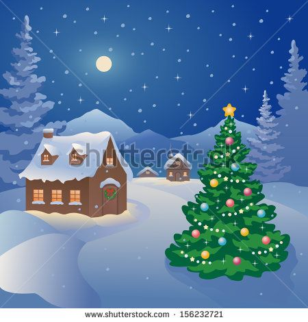 Vector illustration of a snowy Christmas night village at the mountains