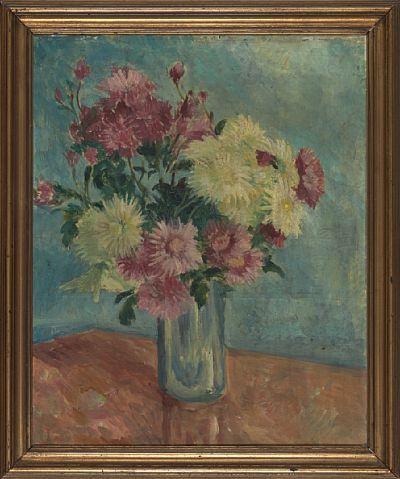 POLA GAUGUIN PARIS 1883 - KØBENHAVN 1961  Blomsterstilleben Olje på lerret, 46x38 cm Usignert