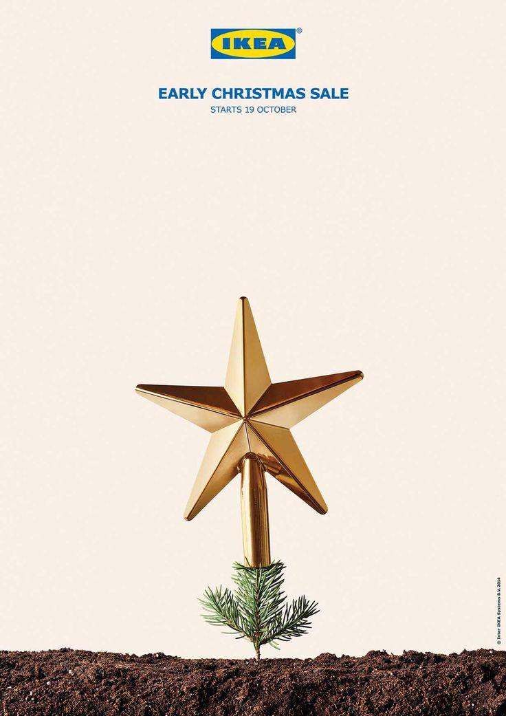 Case: Early Christmas sale ポルトガルで大手家具ブランドのIKEAが、10月19日から始まる一足早いクリスマスセールを告知するために実施したプリント広告。  そのシンプ