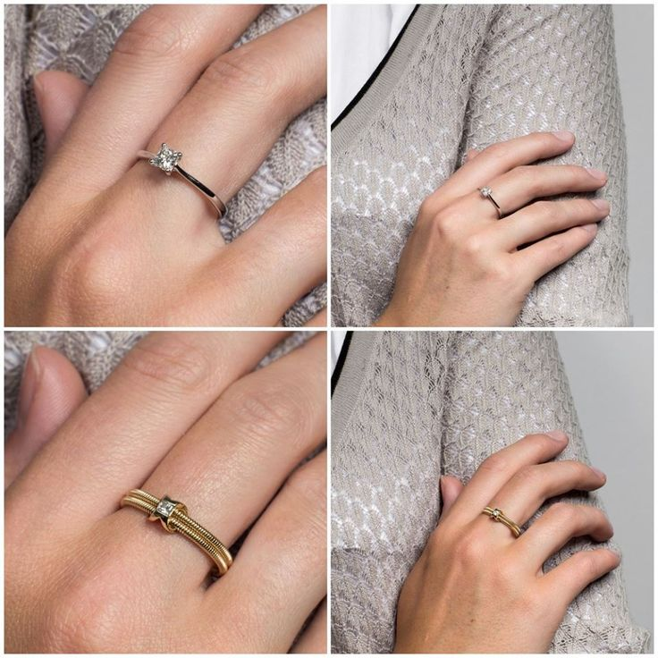 Piękne pierścionki zaręczynowe w połączeniu z białą koszulą i beżowym sweterkiem. Engagement rings.