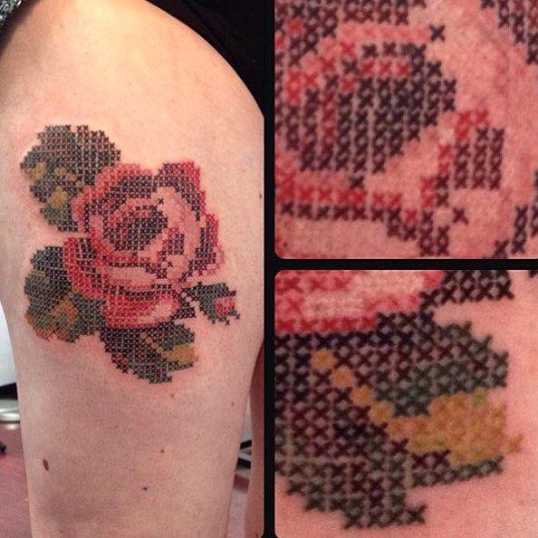 Close up on the #crossstitch #tattoo that @iamkrysc did recently. #prahran #tattoo #tattoos #bodyart #tattooworkers #tattooistartmag #inkandhonor #tattoos_alday #thebesttattooartists #solidink #support_good_tattooers