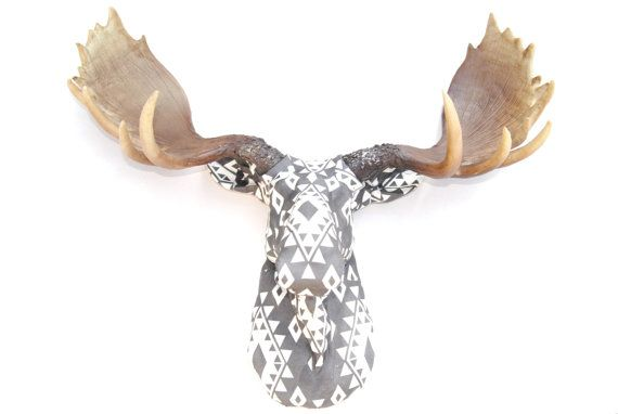 Faux Taxidermy Southwestern Fabric Moose Head  This is our first fabric moose design! This faux moose head has been covered in a Gray and white