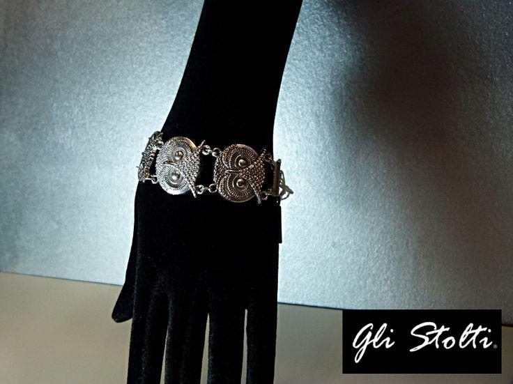 """Bracciale in metallo """"Gufi"""". Gli Stolti Original Design. Handmade in italy. #moda #artigianato #design #madeinitaly #shopping #roma #bijoux #gufo"""