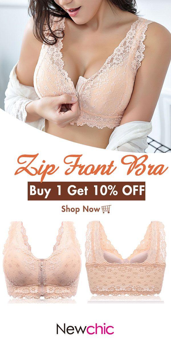 da8e255342 Front Zipper Cotton Lining Gather Wireless Soft Lace Comfort Embroidery Bra   bras  front  zipper  cotton  lace  wireless