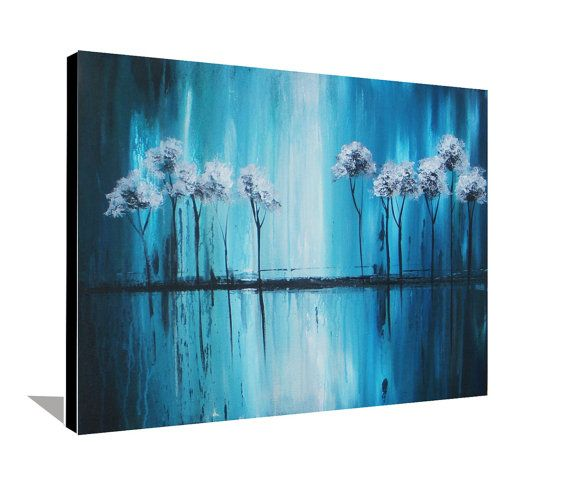 Blue Painting Tree Painting Landscape Painting Original Painting Metallic Abstract Impressionism Painting on Canvas Modern Art 20x24 DAY